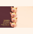 2019 happy chinese new year template with pig vector image