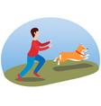 a man walking his dog happy cute dog welsh corgi vector image