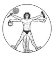 athlete vitruvian man sketch engraving vector image