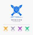 badge emblem game shield swords 5 color glyph web vector image