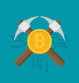 bitcoin mining concept with pickaxe and coin flat vector image vector image