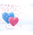 Blue and pink pair of hearts Valentines day vector image vector image