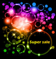 bright neon background with space stars and super vector image vector image