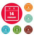 calendar fourteenth february icons circle set vector image vector image