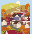cartoon flat old town with colorful scenery vector image vector image