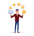 caucasian man juggles with crypto currency coins vector image vector image