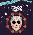 cinco de mayo death mask vector image vector image