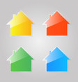 colored shiny glass icons of private houses on a vector image