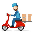 courier carries a parcel on a scooter on a white vector image vector image