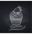 cupcake on chalkboard pastry template vector image vector image