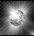 disco ball with bright rays and bokeh music vector image