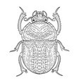 egyptian scarab beetle coloring for adults vector image