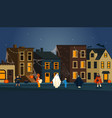 halloween nighr party on a street background vector image