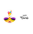 happy diwali hindu festival banner burning diya vector image vector image