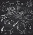 happy farm doodles icons set hand drawn sketch vector image