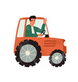 happy farmer waving in a tractor smiling male vector image
