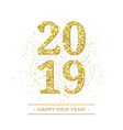 happy new year golden glitter confetti card vector image
