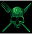 human skull with a spoon and fork vector image