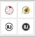 initial letter aj logo template design vector image vector image