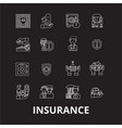 insurance editable line icons set on black vector image vector image