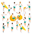 isometrics set people 3d teenagers vector image vector image