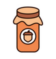 jar with jelly acorn autumn food line fill icon vector image vector image