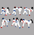 karate girls train vector image vector image