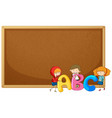 kids holding abc on corkboard vector image vector image