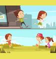 kids sport outdoors horizontal banners vector image