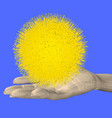 man hand holds a yellow star 3d vector image vector image