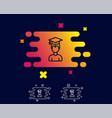 man in graduation cap line icon education vector image vector image