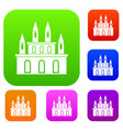medieval castle set color collection vector image vector image