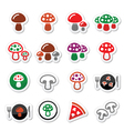 Mushroom icons set vector image vector image