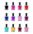 nail polish bottles on white background vector image vector image