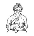 old woman and cat engraving vector image vector image
