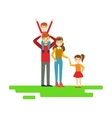 Parents And Kids Holding Hands In Park Happy vector image vector image