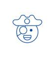 pirate emoji line icon concept pirate emoji flat vector image vector image