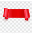 Red banner on transparent vector image vector image