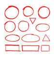 red hand drawn shapes marker for highlighting text vector image vector image