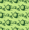 seamless pattern drawing of green teapot vector image vector image