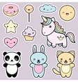 Set collection of cute kawaii style labels vector image vector image