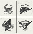 set of hand drawn biker emblems skull with fire vector image vector image