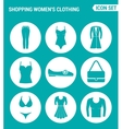 set of round icons white Shopping women s vector image vector image