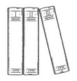sketch - three books in a row vector image vector image