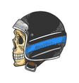 skull in motorcycle helmet color sketch vector image