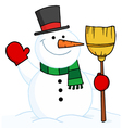 snowman holding a broom and waving vector image vector image