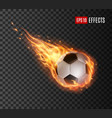 soccer ball flying with fire tongues football vector image vector image