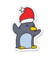sticker of a cute cartoon christmas penguin vector image vector image