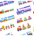 toy trains with kid toys and children playthings vector image vector image