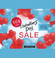 valentines day sale and special offer banner with vector image vector image